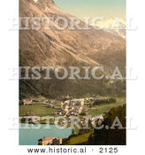 Historical Photochrom of St. Moritz, Switzerland by Al