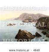 Historical Photochrom of St Nicholas' Chapel on Lantern Hill near Hillsborough Hill, Ilfracombe, Devon, England by Al