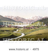 Historical Photochrom of St. Valentine on the Danube River, Haide with Haidersee and Ortergruppe, Tyrol, Austria by Al