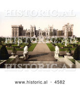 Historical Photochrom of Statues in the East Terrace Gardens of Windsor Castle, Berkshire, England by Al