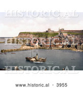 Historical Photochrom of Steamboat in the Harbor at Whitby North Yorkshire England UK by Al