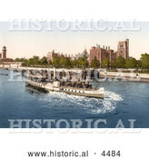 Historical Photochrom of Steamboat on the River Thames, Passing the Lambeth Palace in London, England by Al