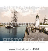 Historical Photochrom of Steamboat Tugging a Ship past the Pier and Windmill in Littlehampton Arun West Sussex England UK by Al