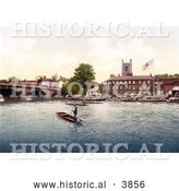 Historical Photochrom of Steamboats and Gondoliers near the Red Lion Hotel in Henley on Thames on the Banks of the Thames River in London England UK by Al