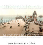 Historical Photochrom of Steamers and Sailboats in the Harbor and People near the Clock Tower on Victoria Pier Douglas Isle of Man England by Al