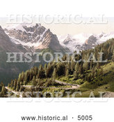 Historical Photochrom of Stilfer Joch with Ortler and Ortlerferner, Ortler Territory, Tyrol, Austria by Al
