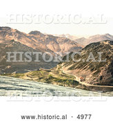Historical Photochrom of Stilferjoch, Stilfer Joch, Ferdinandshoshe and Mountains of Silvretta, Tyrol, Austria by Al
