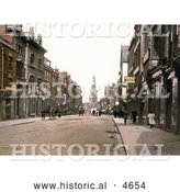 Historical Photochrom of Storefront Buildings and Street Scene of Westgate Street in Gloucester, England by Al