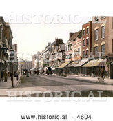 Historical Photochrom of Storefronts and Street Scene of Southgate Street in Gloucester England by Al