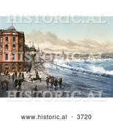 Historical Photochrom of Storm Waves Washing up on the Train Tracks, Jubilee Clock, and Promenade by Waterfront Buildings in Douglas Doolish Isle of Man England by Al
