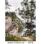 Historical Photochrom of Stybarrow Crag, Ullswater, Lake District, England, United Kingdom by Al