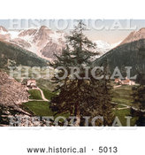 Historical Photochrom of Sulden, the Schontauftspitze, Schontaufspitze and Suldenspitze, Tyrol, Austria by Al