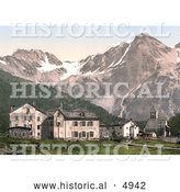 Historical Photochrom of Suldenspitze, St. Gertraud, Sulden, Tyrol, Austria by Al