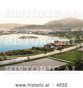Historical Photochrom of Tennis Courts and Hotels Around the Mooragh Park Lake in Ramsey, Isle of Man, England by Al