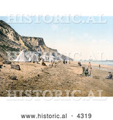 Historical Photochrom of Tents and People on the Beach in Overstrand Norfolk England by Al