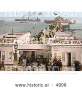 Historical Photochrom of the Admission Stand, Baths and Steamers at the Clacton Pier in Clacton-on-Sea, Essex, England, UK by Al
