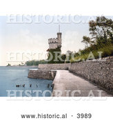 Historical Photochrom of the Appley Tower in Ryde Isle of Wight England UK by Al