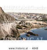 Historical Photochrom of the Beach and City Buildings Ilfracombe in Devon England by Al