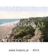Historical Photochrom of the Beach and Cliffs at Overstrand Norfolk England by Al