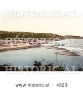 Historical Photochrom of the Beach and Pier in Teignmouth, Devon, England, United Kingdom by Al