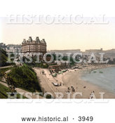 Historical Photochrom of the Beach in Front of the Grand Hotel in Scarborough North Yorkshire England UK by Al