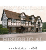 Historical Photochrom of the Birthplace of William Shakespeare in Stratford Warwickshire by Al
