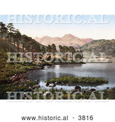 Historical Photochrom of the Blea Tarn Lake with a View of the Langdale Pikes Lake District Great Langdale Cumbria England UK by Al