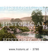Historical Photochrom of the Bridge over the River by Malmsmead Inn in Exmoor Doone Valley Lynton and Lynmouth Devon England UK by Al