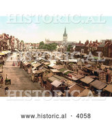 Historical Photochrom of the Bustling Market in Yarmouth Norfolk England UK by Al