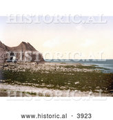 Historical Photochrom of the Cave on the Beach of Thornwick Bay on the North Sea in Flamborough England by Al