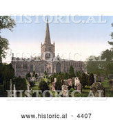 Historical Photochrom of the Cemetery at the Holy Trinity Church in Stratford-on-Avon Warwickshire England by Al
