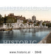 Historical Photochrom of the Church, College and Archbishops Palace on the River Medway in Maidstone Kent England UK by Al