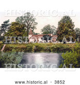 Historical Photochrom of the Church Graveyard on the Banks of the River Dixton Ferry Monmouth Wales Monmouthshire England UK by Al