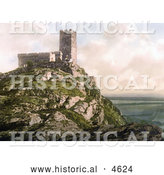 Historical Photochrom of the Church of St Michael on Top of Brent Tor, Brentor, Dartmoor, Devon, England by Al