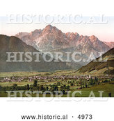 Historical Photochrom of the City of Lienz with the Spitzkolft (Spitzkofl), Tyrol, Austria by Al