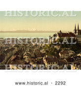 Historical Photochrom of the City of Neuchatel, Switzerland by Al