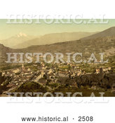 Historical Photochrom of the City of Sion, Valais, Switzerland by Al