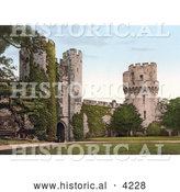 Historical Photochrom of the Clock Tower Gateway on the Interior of the Warwick Castle in Warwick Warwickshire England UK by Al