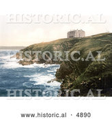 Historical Photochrom of the Coastal Headland Hotel on Beacon Cove in Newquay Cornwall England by Al