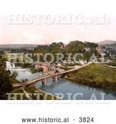 Historical Photochrom of the Dinham Bridge Spanning the Teme River and the Ludlow Castle in the Village of Ludlow Shropshire England UK by Al