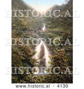 Historical Photochrom of the Doon Glen Waterfall in Laxey Isle of Man England by Al