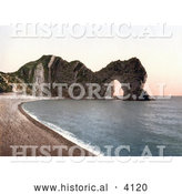 Historical Photochrom of the Durdle Door on the Jurassic Coast Beach in Lulworth, Dorset, England by Al