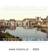 Historical Photochrom of the Exe Bridge in Exeter Devon England by Al