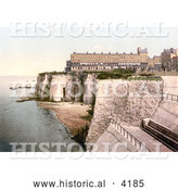 Historical Photochrom of the Fort and Coastal Cliffs in Margate Thanet Kent England UK by Al