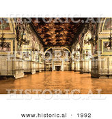 Historical Photochrom of the Gallery of Henry II at the Fontainebleau Palace by Al