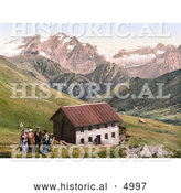 Historical Photochrom of the Gasthof Valentini Sellajoch Building and Marmolada As Seen from the Sellajoch, Tyrol, Austria by Al