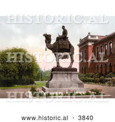 Historical Photochrom of the Gordon Memorial Statue at the Brompton Barracks Showing General Charles Gordon on a Camel in New Brompton Kent England UK by Al
