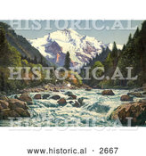 Historical Photochrom of the Gorge of the Lutschine River in Switzerland by Al