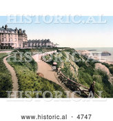 Historical Photochrom of the Grand Hotel on the Leas in Folkestone, Kent, England by Al