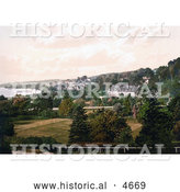 Historical Photochrom of the Grange Hotel or the Thornfield House in Grange-over-Sands Cumbria England by Al